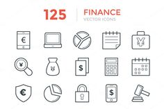 125 Finance Vector Icons by Vectors Market on @creativemarket