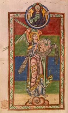 St Michael stands on a cloud and holds souls, offering them to God above; God takes the form of God, the Son (Jesus), with symbolic attribute of cruciform halo. (British Library Prints)