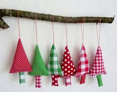 Christmas Tree Ornaments 6 Fabric Christmas by FromJeanne on Etsy, €25.00