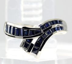 Baguette-Cut Blue Sapphire Gemstone Chevron Style Ring in 10K White Gold