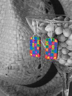 Multicolor Ohrringe. von LaSolis auf Etsy Polymer Clay, Simple, Silver, Etsy, Jewelry, Ear Piercings, Schmuck, Jewlery, Jewerly