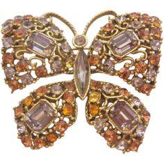 Vintage Large Rhinestone Butterfly Pin-Brooch