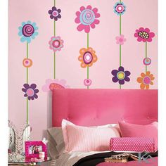 Girls Bedroom with Flower Wall Stickers Boost up the Kids Bedroom Design Disney Wall Decals, Flower Wall Decals, Kids Wall Decals, Wall Stickers Room, Wallpaper Stickers, Girl Room, Girls Bedroom, Teen Bedrooms, Wall Decor