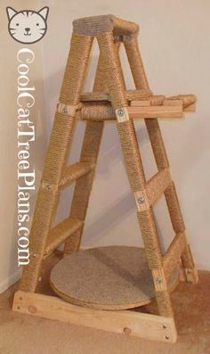 Free Cat Tree Plans. Make a cat tree from a ladder found on www.coolcattreeplans.com