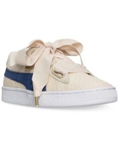 Puma Women's Basket Heart Denim Casual Sneakers from Finish Line - Brown 11