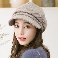 Winter knit newsboy hat for women casual warm newspaper boy hat cap 7c6eced1ecb4