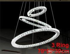 Wholesale Crystal Chandelier - Buy LED Lustre Crystal Chandelier Lighting Modern Dining Room Pendant Lamp Living Room Creative Design Pendant Light3 Ring 70*50*30 Cm PL292, $488.73 | DHgate.com