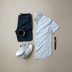 Shirt:PX Clothing //Shorts:PX Clothing //Sneakers:Johnston & Murphy // Watch:Vaer Adventure //Belt:Anson Belt //Socks: The Real Ninja Sox Mens Casual Dress Outfits, Smart Casual Outfit, Stylish Mens Outfits, Men Casual, Fashion Outfits, Outfit Grid, Sneakers Fashion, Men's Sneakers, Facon