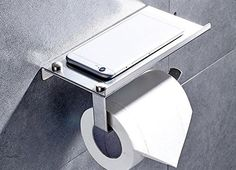 Toilet Paper Holder,Heavy Duty Stainless Steel Bathroom Tissue Holder with Mobile Phone Storage Shelf - Contemporary Style Wall Mount Thickened Wipes Holder Brushed Nickel - Personal Gear Products Search Tissue Paper Holder, Tissue Boxes, Bathroom Toilet Paper Holders, Buy Toilet, Shelf Holders, Wall Mount Rack, Wall Mounted Toilet, Toilet Storage, Bathroom Accessories Sets