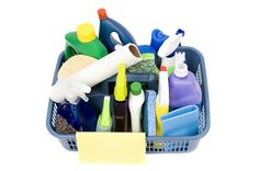 Keep a basket full of cleaning supplies so it makes cleaning much easier.  I'll keep one basket upstairs and one downstairs.