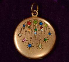 1900-10s Colored Paste Art Nouveau Locket, Gold Filled, $225