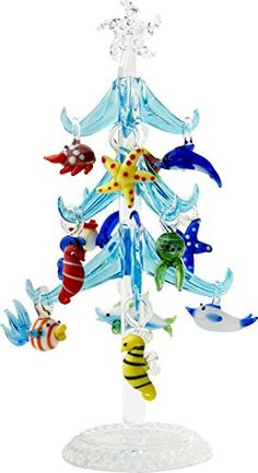 LS Arts XM576 Glass Tree  Blue Sea Life Christmas Glass Tree  775  Gift Box >>> To view further for this item, visit the affiliate link Amazon.com.