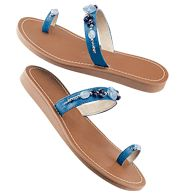 Beaded Toe Loop Sandal      Reg. $19.99    Sale $14.99    SPECIAL - SAVE 25%!    Leatherlike upper with bead accents. Skid-resistant sole. Whole sizes only. Half sizes, order one size up. Please visit my Avon Web-Site, which is on my profile!