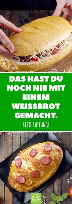 You have never done that with white bread! - Leckere Ideen mit Toastbrot - You have never done that with white bread! Baked white bread with pizza filling - Sandwich Recipes, Pizza Recipes, Mexican Food Recipes, Dessert Recipes, Pan Relleno, Bread Starter, Snacks Sains, Homemade Burgers, Snacks Für Party