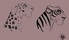 Tigress and Leopard by dyb on deviantart