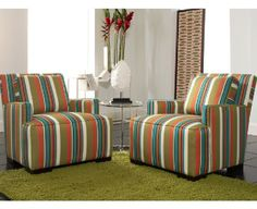 For a blast of bold striped color, rent the contemporary Ace chair. The straight lines of the back and thin inset track arms are the perfect counterpoint to the generous rounded welted seat cushion. A low profile and adjustable back cushion adds to the relaxed, inviting appeal of this multi-colored accent chair. <br><br>