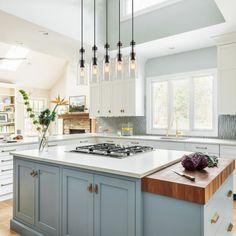 Painted Kitchen Island, Blue Kitchen Island, Blue Kitchen Cabinets, Kitchen Island Lighting, Kitchen Cabinet Colors, Kitchen Colors, Blue Kitchen Ideas, Blue Kitchen Designs, Painted Island