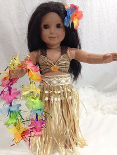 "Hawaiian skirt and out fit dress American Girl Doll clothes fits all 18"" dolls"