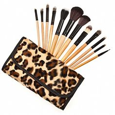 Ubeauty Professional 12pcs Makeup Brushes Eyeshadow Powder Brush Set Kit with Leopard Case ** Find out more about the great makeup products at the image link.