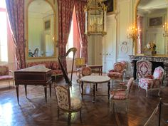 The pink harp room Marie-Antoinettes favourite room in her holiday palace at Versailles
