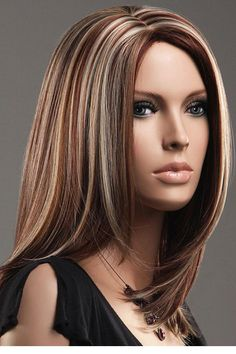 cosplay Brown Blonde Straight Mid-length Highlights natural perucas full lace perruque wig cap cabelos