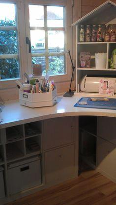 desk carousel in a CRAFTING CABIN...my dream space