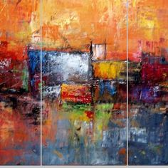 Large Orange PaintingAbstract PaintingLarge by chrisartpainting