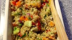 Quinoa is combined with cucumbers, olives, and tomatoes before being tossed in a zesty red wine vinaigrette in this wonderful salad.