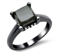 2.15ct Black Princess Cut Diamond Engagement Ring 14k Black Gold