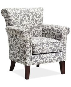 $370 - hearth room or great room gray pattern chair - JLA Sarah Printed Fabric Accent Chair, Direct Ship - Chairs & Recliners - Furniture - Macy's