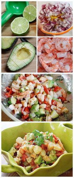 Zesty Lime Shripm & Avocado Salad - shrimp, avocado, diced red onion, chopped tomato, olive oil, fresh lime juice, cilantro, salt and pepper... delish AND easy on the waistline. Opt: Serve with your favorite crackers.
