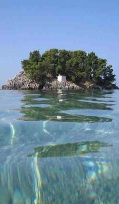 Island of Virgin Mary across the bay at Parga - Epirus, Greece