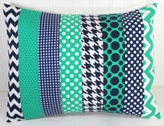 Pillow Cover, Baby Boy Nursery Decor, Patchwork Pillow Cover, Nautical Nursery Decor, 12 x 16 Inches, Navy Blue and Emerlad Green, Chevron