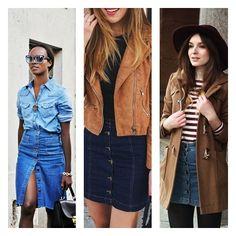 Inspirações para looks com saia com botões http://vialactealeatoria.blogspot.com.br/2016/01/saias-com-botoes.html #tendencia #looks #visual #dicas #moda #fashion #saia #skirt #jeans #blog #blogueira #polyvore #lookoftheday #day #summer #verão #2016 #Brasil #botões #botão