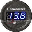 Powerwerx Panel Mount Digital Blue Volt Meter for 12/24V Systems