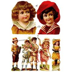 Large Victorian Children and Flower Scraps ~ Germany