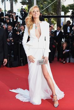 Cannes 2015: Petra Nemcova arrives at the 68th annual Cannes Film Festival wearing Giuseppe Zanotti Design sandals