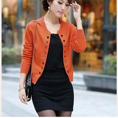 Slim Women Short Outerwear O-Neck Long Sleeve Coats Spring Autumn Black Red Knitted Jackets