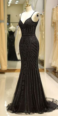 Mermaid Spaghetti Strap Black Beading Long Prom Dress - - black long prom dress 2020 with spaghetti straps, beaded handwork and zip up back. Source by dreamdressyoffical Straps Prom Dresses, Gala Dresses, Homecoming Dresses, Evening Dresses, Fitted Prom Dresses, Bridesmaid Dresses, Mermaid Prom Dresses, Sexy Dresses, Summer Dresses