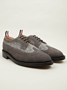 official photos b987d 01e67 Thom Browne Mens Suede and Boiled Wool Long Wing Brogues  oki-ni Wing  Shoes