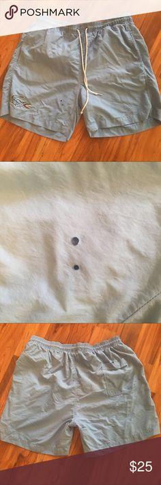"Men's Lacoste swim shorts (bathing suit) Size large. Powder blue. 2 Tiny ""burn"" holes, other than that, great condition Lacoste Swim Swim Trunks"