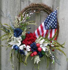 Patriotic Wreath, Floral Wreath, Americana Decor, Patriotic Holiday Decor, American Flag Wreath