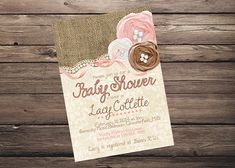 Shabby Chic Rustic Burlap Lace Baby Shower Invitation PRINTABLE! Roses Birthday Winter Pink Girl Vintage Customizable!