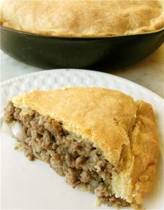 "Tourtière ( meat pie ) : I have enjoyed this every Christmas since childhood. This is a French Canadian recipe. I've pinned many recipes for ""Pork Pie"" but this pin seems to be the best one yet. Holiday Recipes, Great Recipes, Favorite Recipes, Game Recipes, Canadian Food, Canadian Recipes, Canadian Meat Pie Recipe, Good Food, Yummy Food"