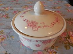 LAURA ASHLEY Ribbons Cannister or Bowl with by Beautyfromthepast, $19.99