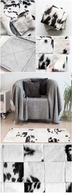cozy DIY Patchwork cowskin rug   Kuscheliger DIY Patchwork Kuhfell Teppich