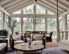 Screen porch with Amazing EZ Screen Porch Windows and swing bed Porch Interior Design, House Styles, Screened Porch Decorating, Porch Decorating, Home, Sunroom Designs, Porch Interior, Porch Remodel, Porch Design