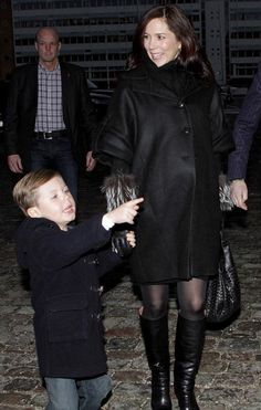 "Princess Mary and Prince Frederik with their children  at the premiere of the ballet ""A Tivoli Dream"" in Copenhagen (dec. 2010). She was expecting the twins!"
