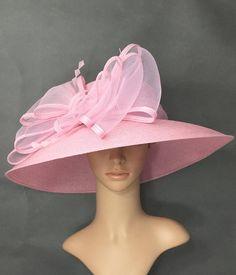 a8152db8096 Pink Kentucky Derby Hat Valentines Derby Hat Dress Hat Wedding Hat Wide  Brim Hat Tea Party Hat Ascot