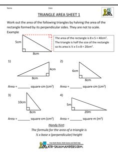 Area of a triangle worksheet 7th grade